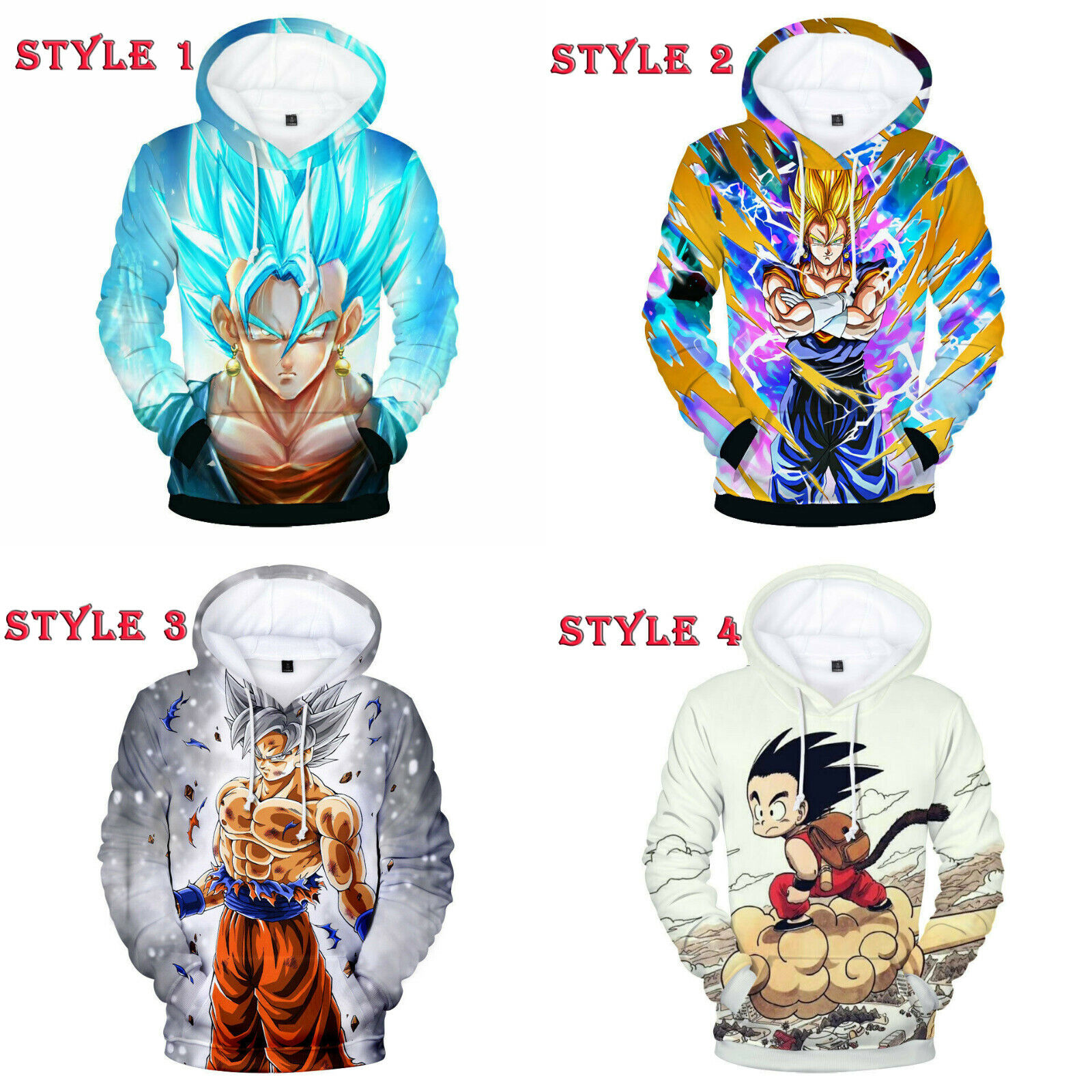 Dragon Ball Super Saiyan God Son Goku Hoodie Sweater Sweatshirt Pullover Jacket Activewear