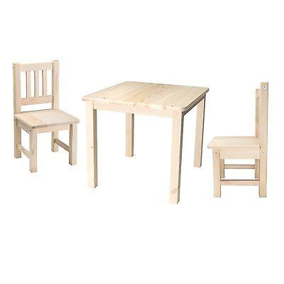 Kindersitzgruppe 1x Kindertisch 2x Kinderstühlen Holz unbehandelt Massivholz Set