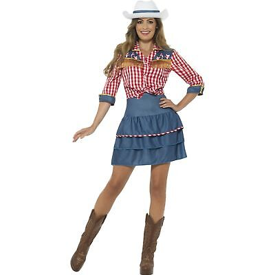 Rodeo Doll Dolly Parton Cowgirl Costume Blue Womens Ladies Fancy Dress Costume](Cowgirl Dress Costume)