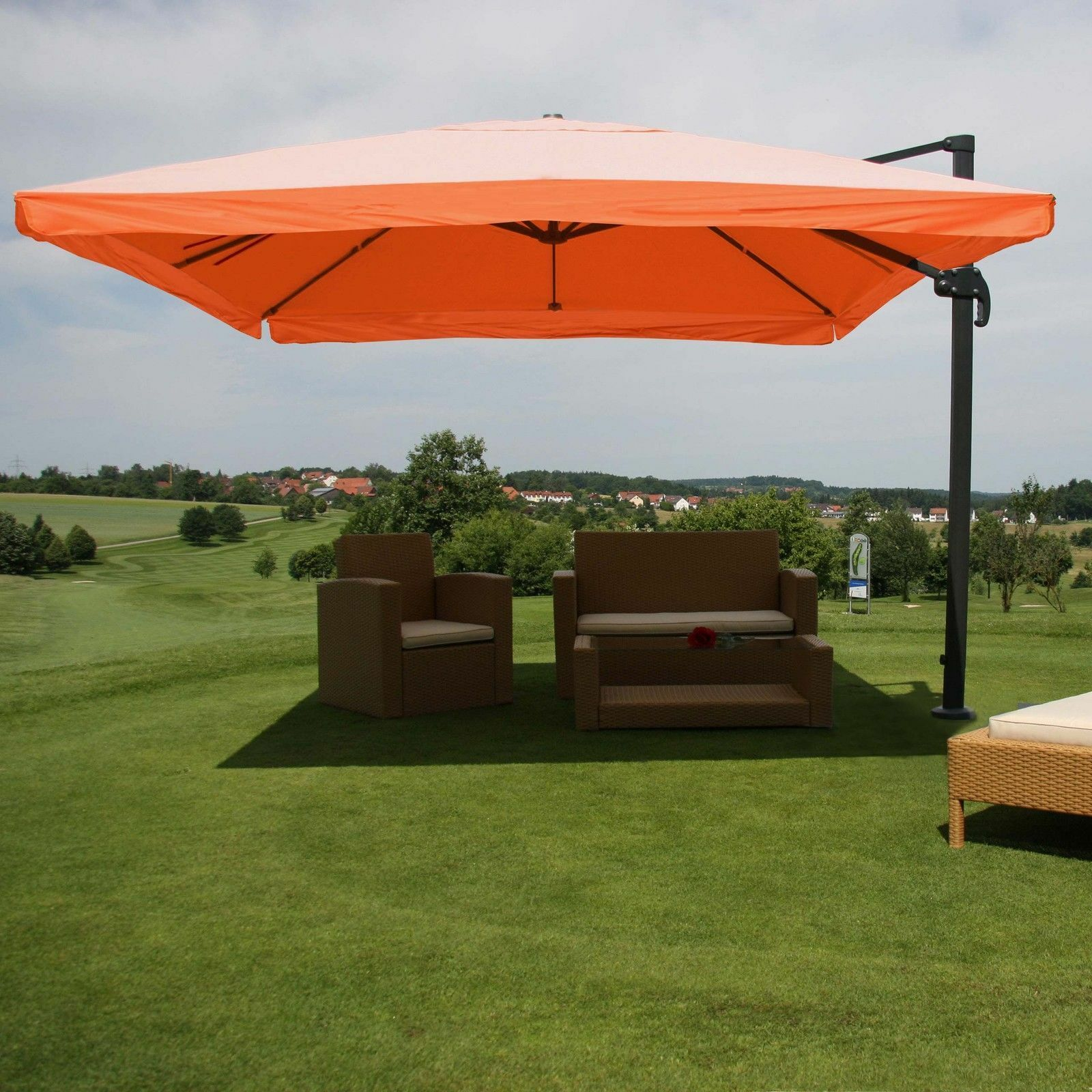3x4 m Design Sonnenschirm Ampelschirm Gartenschirm 3m 4m Gastronomie MIT FLAP TERRAKOTTA