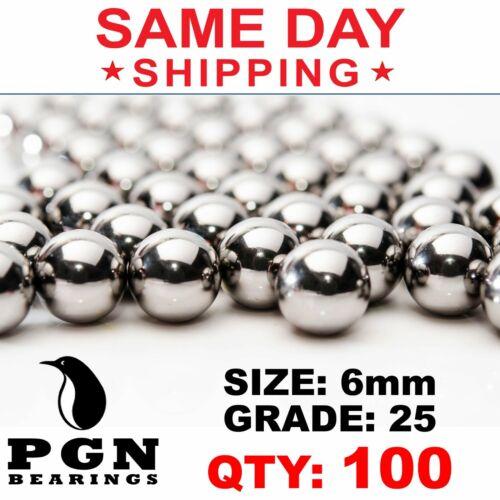 100 QTY - 6mm G25 Precision Chrome Steel Bearing Balls Chromium AISI 52100