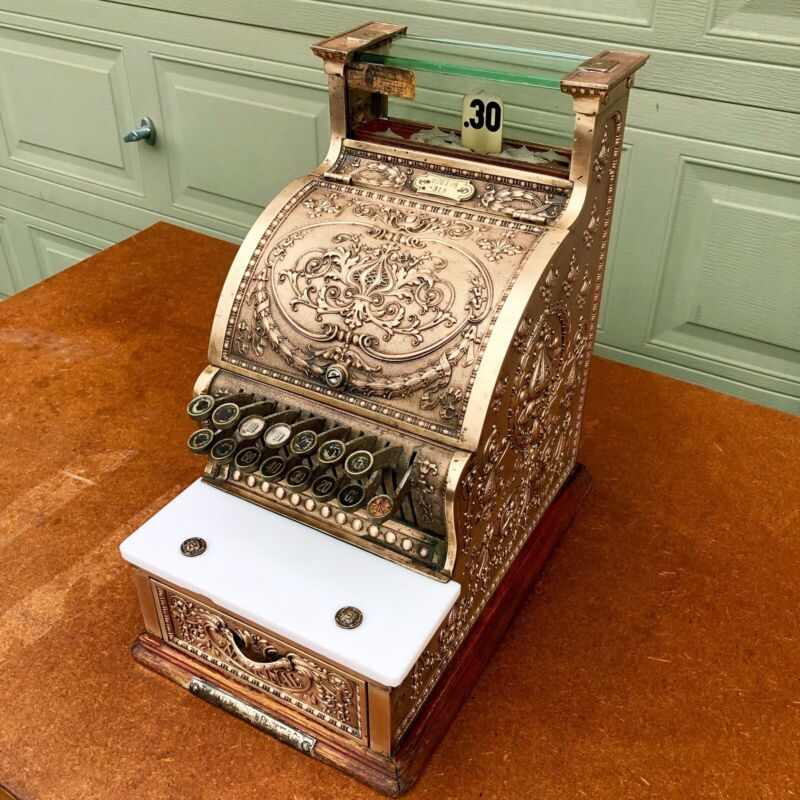 Original  1910 National 313 Brass Candy Cash Register NCR Serial #826198 WORKING