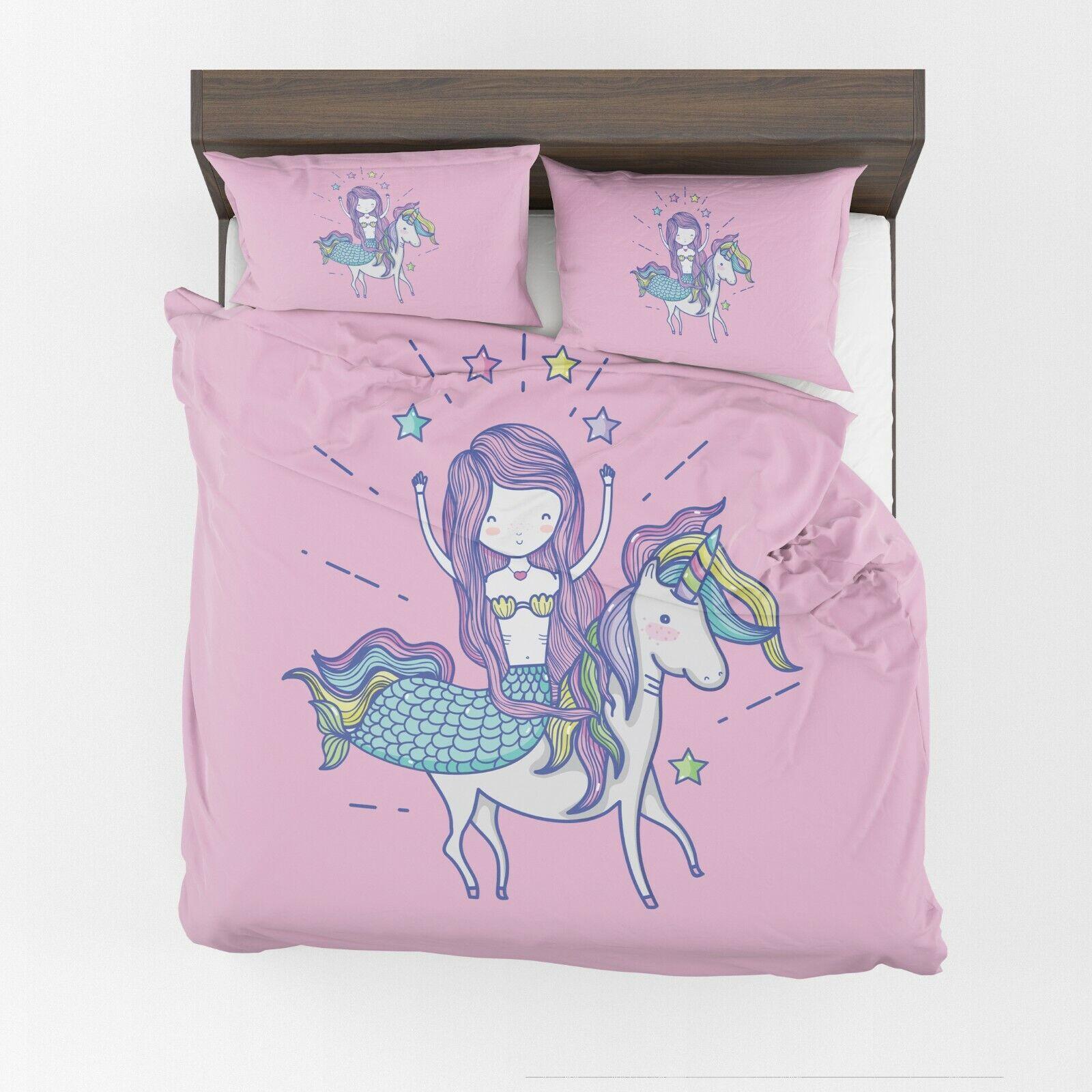 Mermaid riding Unicorn Comforter or Duvet Cover girls beddin