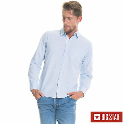 Baumwolle Gewebt Shirt (Big Star Herren SHIRT STIEN SHIRT LS 425 Hemd Langarm Blau Gewebt Freizeit)