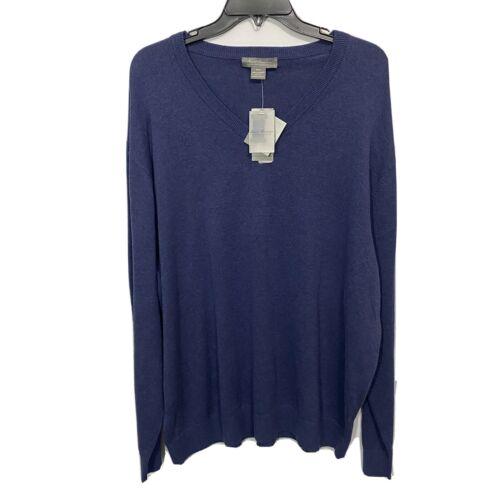 $85 Daniel Cremieux V-Neck Pullover Sweater L/S XXL 2XL Navy Blue Supima Cotton Clothing, Shoes & Accessories