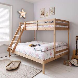Triple Sleeper Bed Bunk Bed in Natural Double \u0026 Single Kids Kent & Double Bunk Beds | Childrens Bunk Beds | eBay