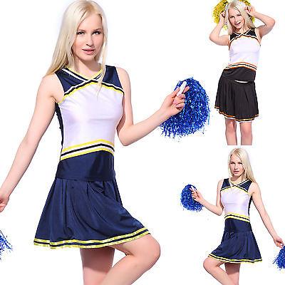 Ladies Girls Blank Printed Cheerleader Uniform Cheerleading Costume DIY Outfit - Girls Cheerleading Outfit