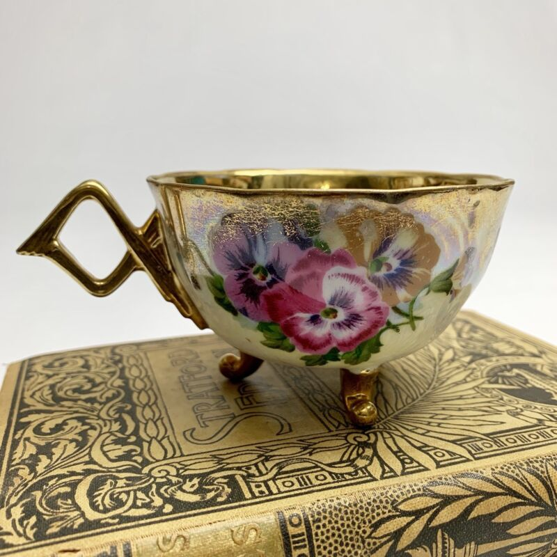 Antique Floral Teacup Japan 3 footed RARE lusterware gold interior and pansies