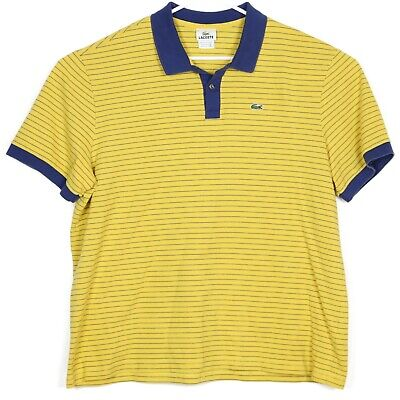 Lacoste Mens Polo Shirt 3XL Size 8 Blue Yellow Striped Crocodile Embroidered