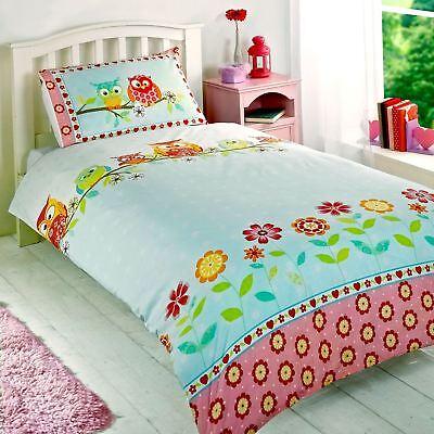 Eulen Einzeln Bettbezug & Kissenbezug Set Mädchen Bettwäsche Neu