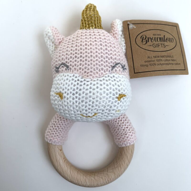 Crochet Unicorn Teething Rattle With Wood Ring By Brownlow Gifts