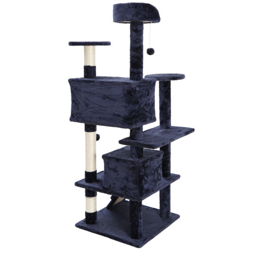 53″ Sturdy Cat Tree Activity Tower Kitty Multilevel w/Padded Viewing Perch Blue Cat Supplies