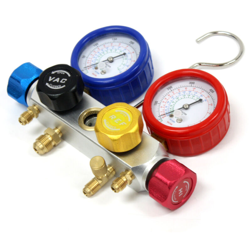 R410A R12 4 Way Valve Manifold Dual Gauge 4 Diagnostic Charging Testing Recovery