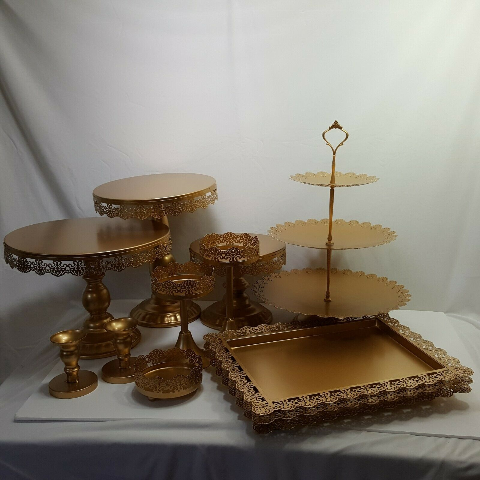 12 Piece Gold Metal Cake Candle Holder Serving Trays Wedding