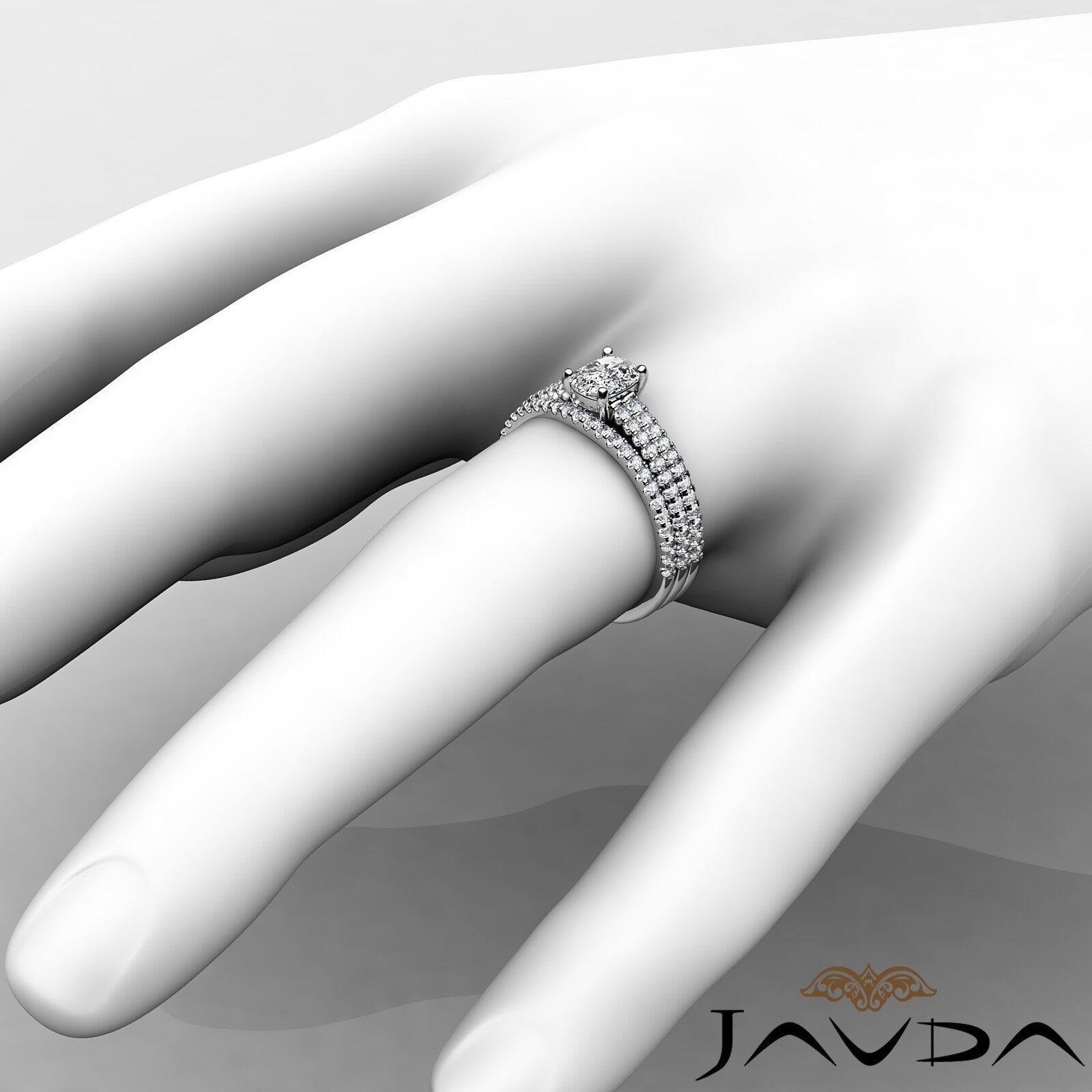 1.54ctw Bridal Scalloped Pave Cushion Diamond Engagement Ring GIA G-SI1 W Gold 4