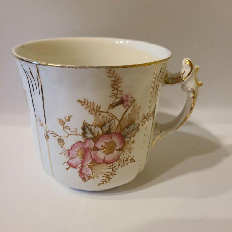 Vintage Wedgewood & Co Semi Porcelain Mug Cup Pink Flowers Gold Trim Antique