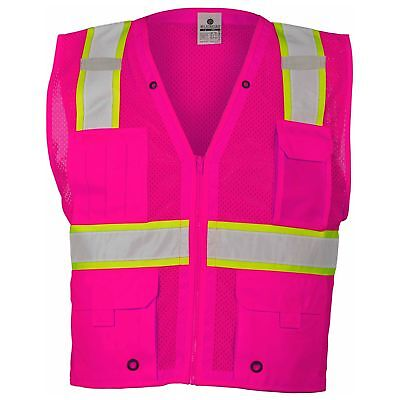 ML Kishigo Non-ANSI Reflective Mesh Safety Vest with Pockets, Pink