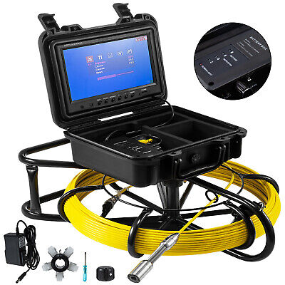 200ft Pipe Inspection Camera Hd 1200 Tvl Drain Sewer Camera 9 Lcd Monitor