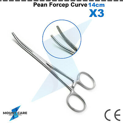 3 Pc Pean Forcep 14cm Curved Dental Surgical Stainless Steel Veterinary Plier