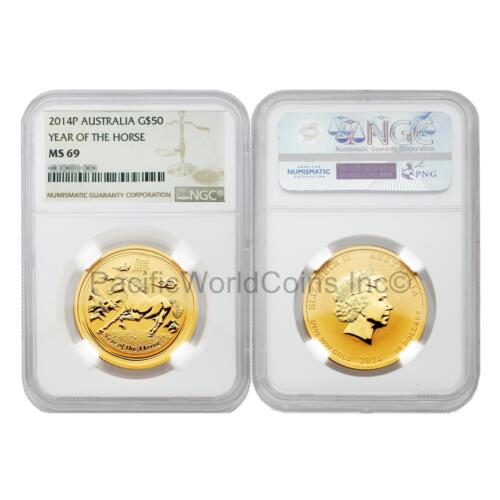 Australia 2014 Year of Horse $50 1/2 oz Gold NGC MS69