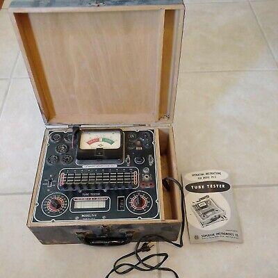 Vintage Superior Instruments Model Tv-11 Tube Tester Wooden Case Manual