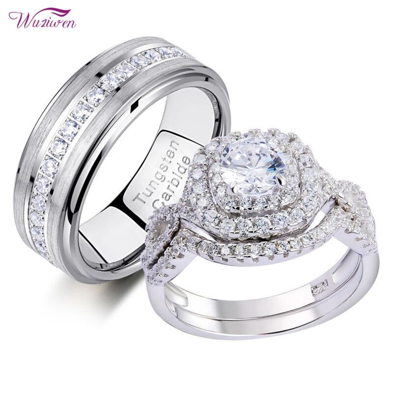 Wuziwen Wedding Ring Set For Him Her Women Men Tungsten Bands Sterling Silver Cz