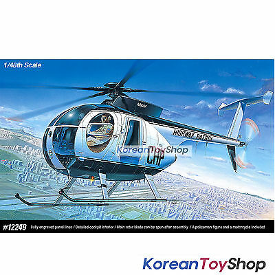 Academy 12249 1/48 Plastic Model Kit Police Helicopter 500D Made in Korea