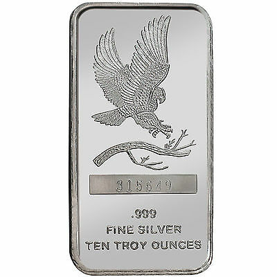 Trademark Bald Eagle 10oz .999 Fine Silver Bar by SilverTowne #5973
