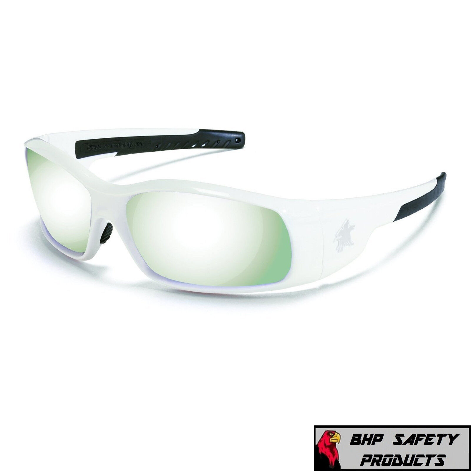 MCR CREWS SWAGGER SAFETY GLASSES SUNGLASSES WORK SPORT EYEWEAR CHOOSE YOUR COLOR SR127 SILVER MIRROR/WHITE FRAME