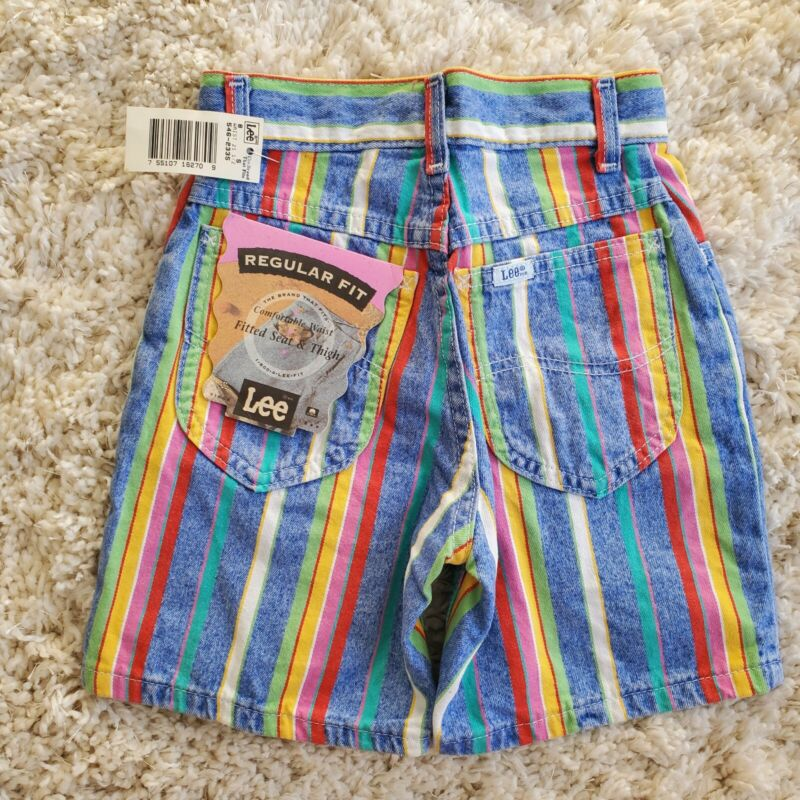Lee DEADSTOCK NOS Made in USA Ocean Stripe Girls 8 SLIM Reg Vintage Jean Shorts