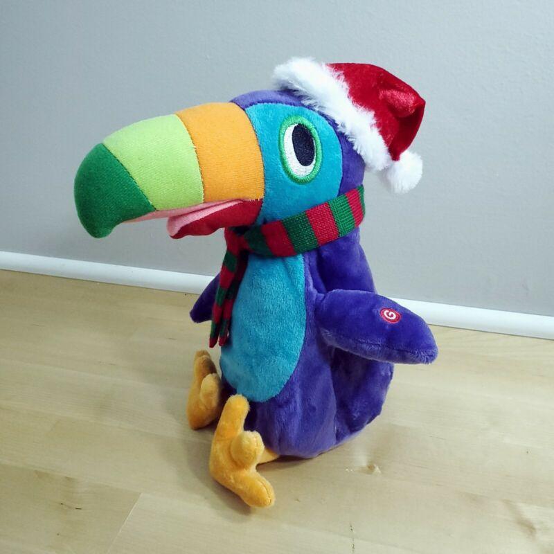 "Gemmy Musical Animated Talking Toucan Bird ~ Dances Sings ~10"" ~ Christmas Hat"