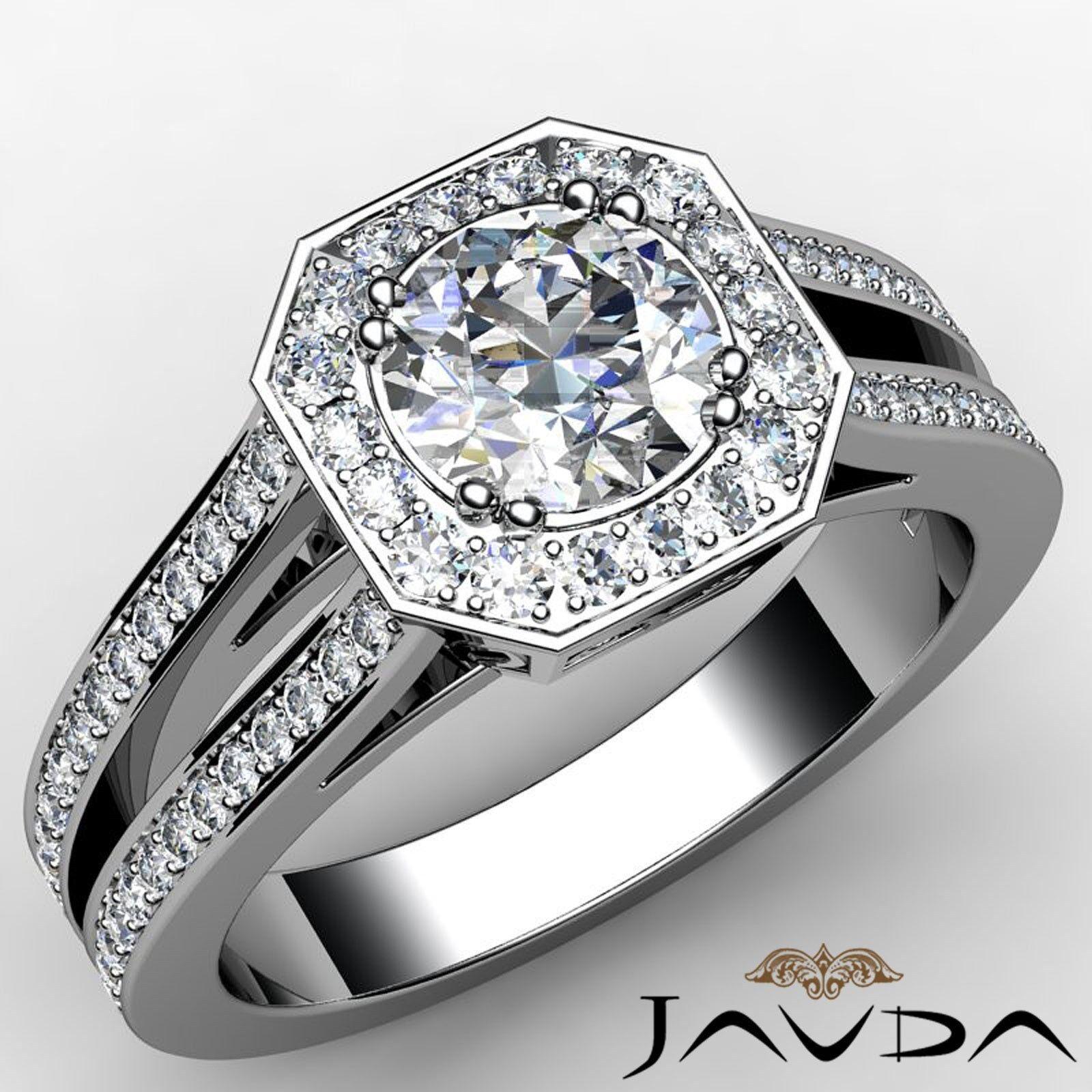 Halo Split Shank Pave Set Round Diamond Engagement Ring GIA I Color VS2 2.46Ct