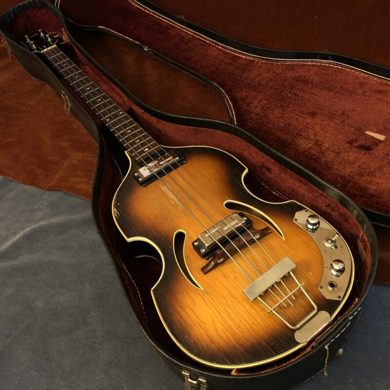 Klira Twen Star 356 Vintage Hollowbody Violin Bass Sunburst c. 1960s w/ OHSC