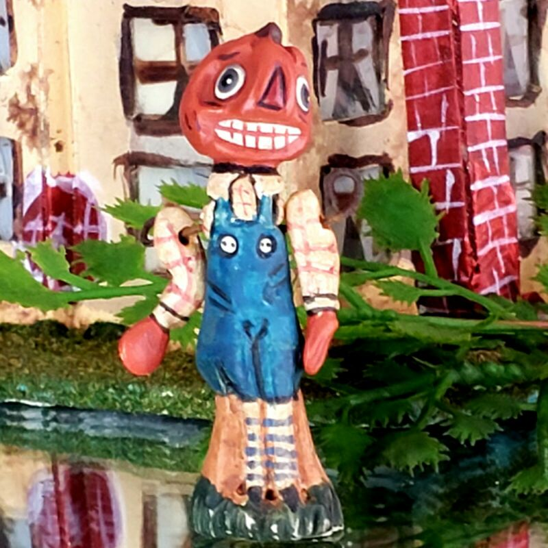 "Vintage Poliwoggs ""Kenny"" Pumpkin Guy 1.75"" Miniature HALLOWEEN Primitive *NOS"