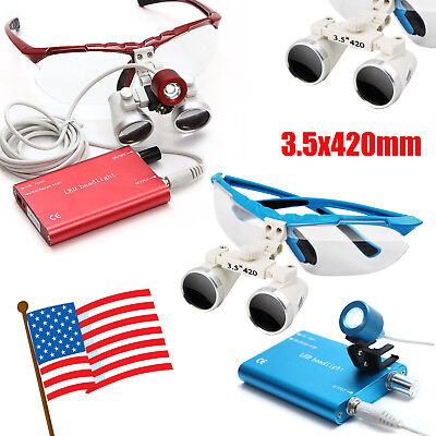 Redblue Dental Loupes 3.5x420mm Surgical Binocular Led Head Light Lamp Usa Ship