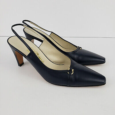 Vintage Salvatore Ferragamo 7.5B Blue Leather Slingback Pumps Heels Italy