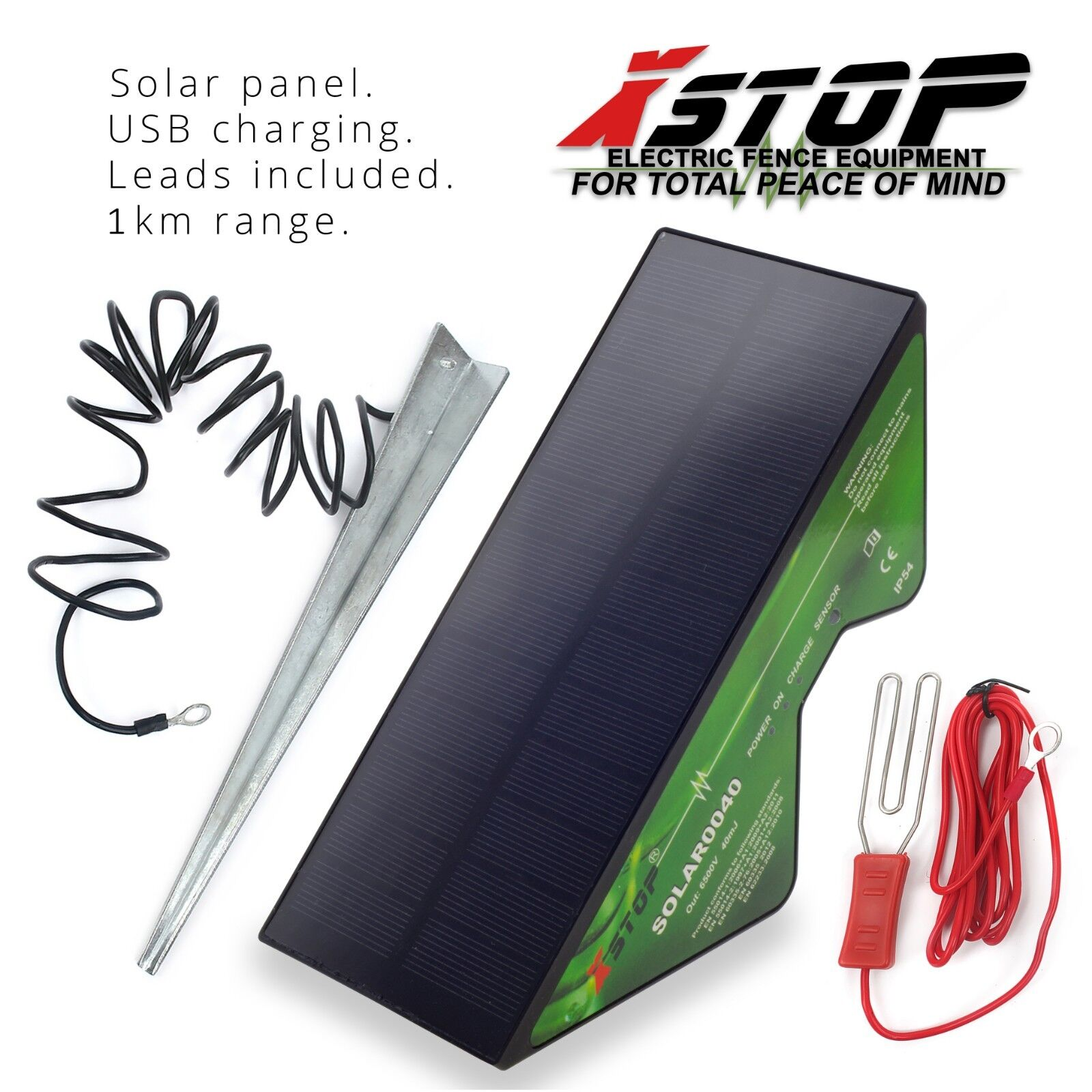 SOLAR Powered Electric Fence Energiser Unit 12v Battery Kit Earth Panel Included