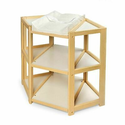 Corner Changing Table Diaper Natural Wood Nursery Furniture Baby Infant 925