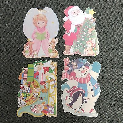 Vintage Christmas Paper Cut Out Decorations - Angel, Santa, Frosty, Sleigh 16