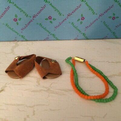 """Original Brown Sandal Shoes & Necklace for 8"""" Madame Alexander Dolls"""