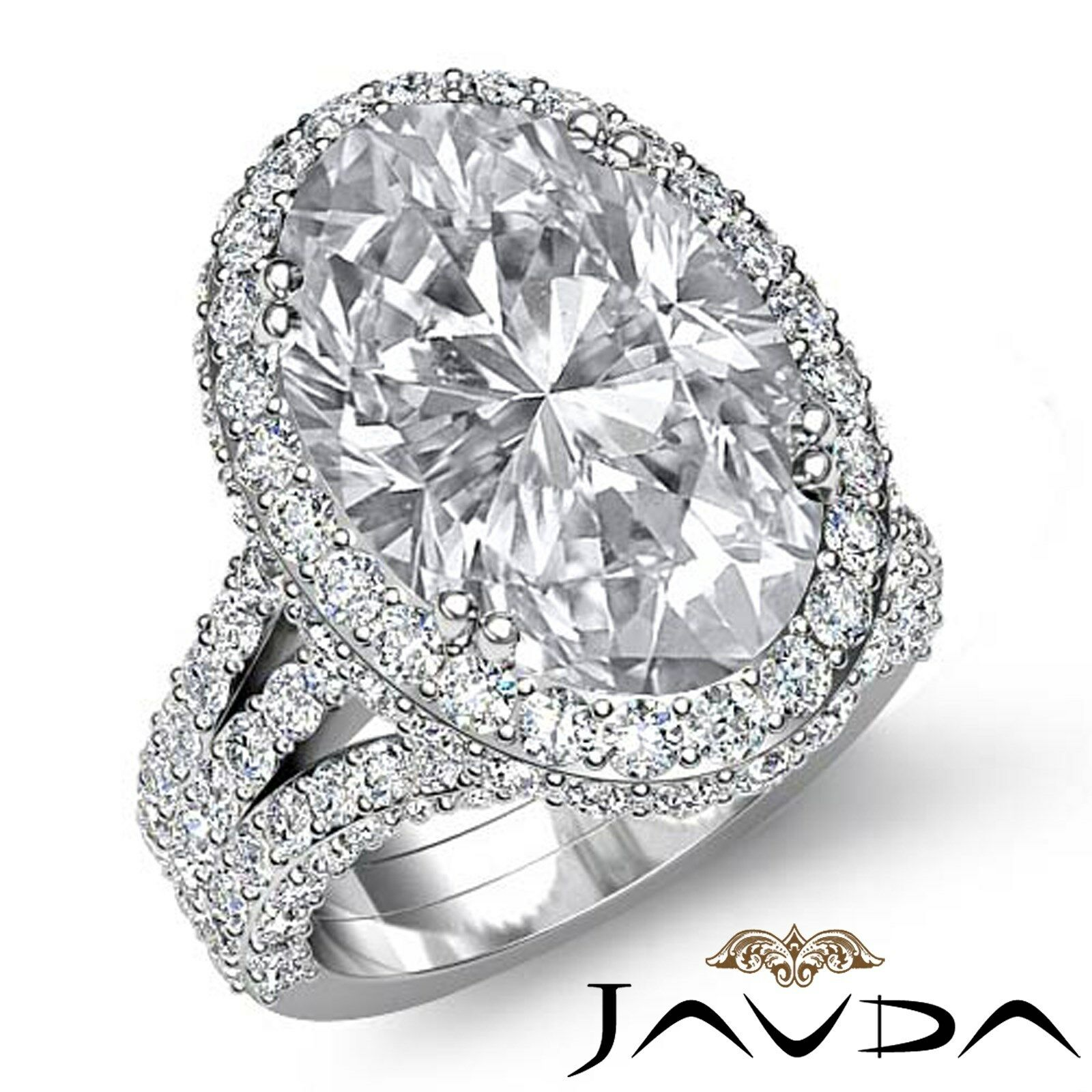 Double Prong Circa Halo Pave Bezel Oval Diamond Engagement Ring GIA F VS1 3.65Ct