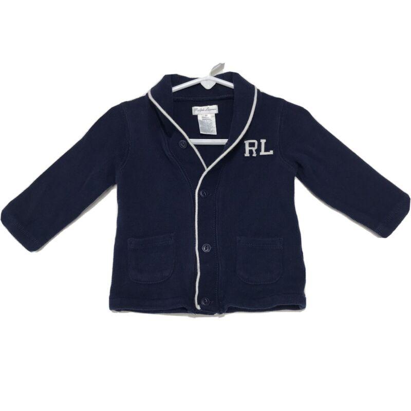 Ralph Lauren RL Cardigan Sweater Infant 9M 9 Months Blue Shawl Collar Baby Boy
