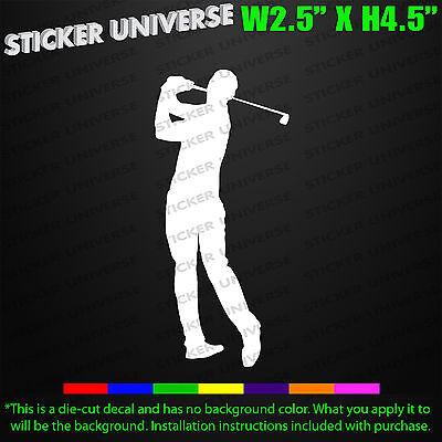 Golfer Sticker (Male Golf Golfer Back swing Golfing Car Window Decal Bumper Sticker Man Flag)