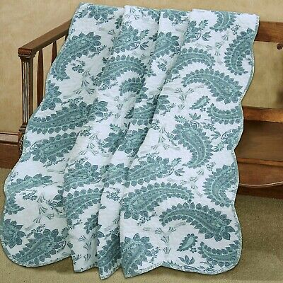 Teal White Paisley Printed Reversible Cotton Quilted Throw