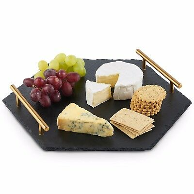 VonShef Serving Tray Cheese Tapas Food Natural Slate with Brushed Gold Handles