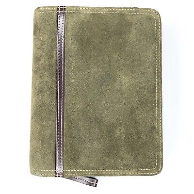 Franklin Covey Compact Planner Binder Suede Leather Zip Around 6 Ring Green