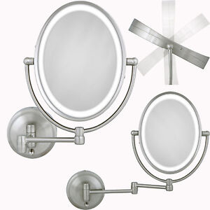 best led lighted oval wall mount mirror magnifying bathroom beauty