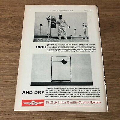 """(STA13) Advert 11x8"""" Shell Aviation Quality Control System, For Clean Dry Fuel"""