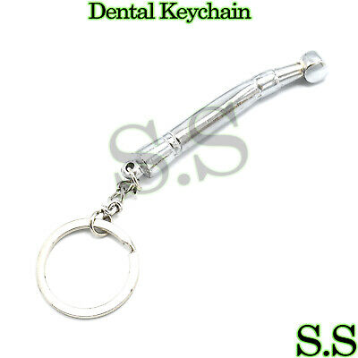1pc Dental Stainless Steel Mini Keychain Dentist Gift Silver Key Chain Ring