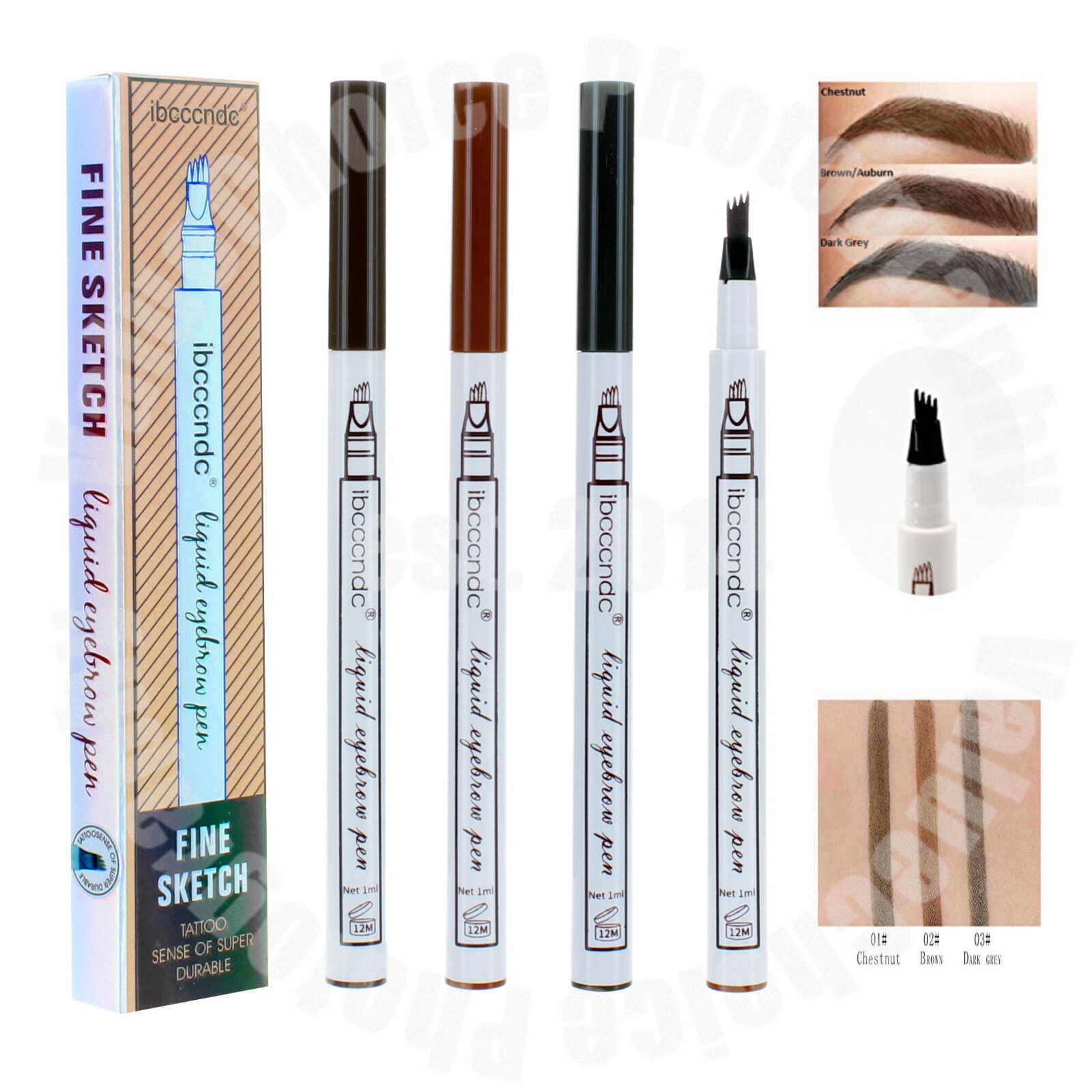 Microblading Tattoo Eyebrow Ink Fork 4 Tip Pen Eye Brow 4D M